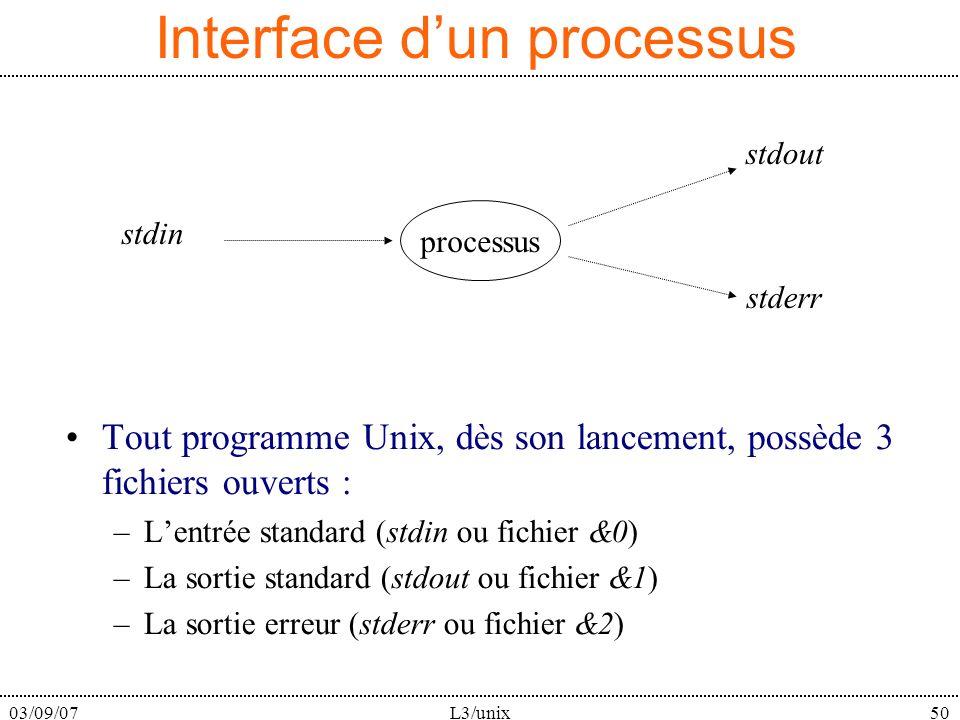 03/09/07L3/unix50 Interface dun processus Tout programme Unix, dès son lancement, possède 3 fichiers ouverts : –Lentrée standard (stdin ou fichier &0) –La sortie standard (stdout ou fichier &1) –La sortie erreur (stderr ou fichier &2) processus stdin stdout stderr