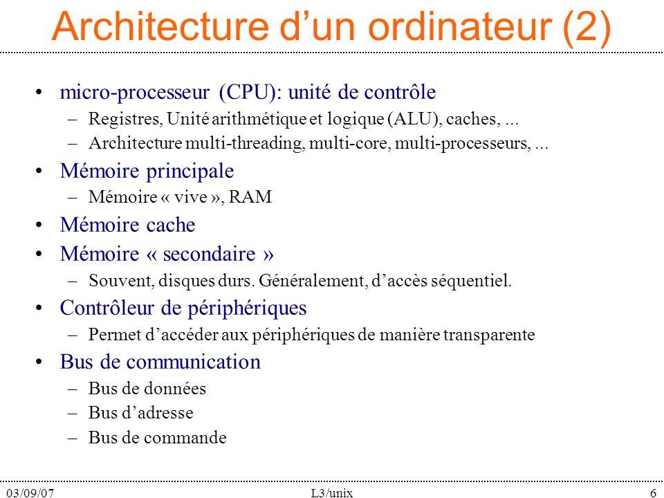 03/09/07L3/unix6 Architecture dun ordinateur (2) micro-processeur (CPU): unité de contrôle –Registres, Unité arithmétique et logique (ALU), caches,...