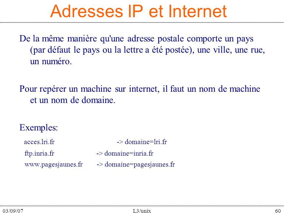 03/09/07L3/unix60 Adresses IP et Internet De la même manière qu une adresse postale comporte un pays (par défaut le pays ou la lettre a été postée), une ville, une rue, un numéro.