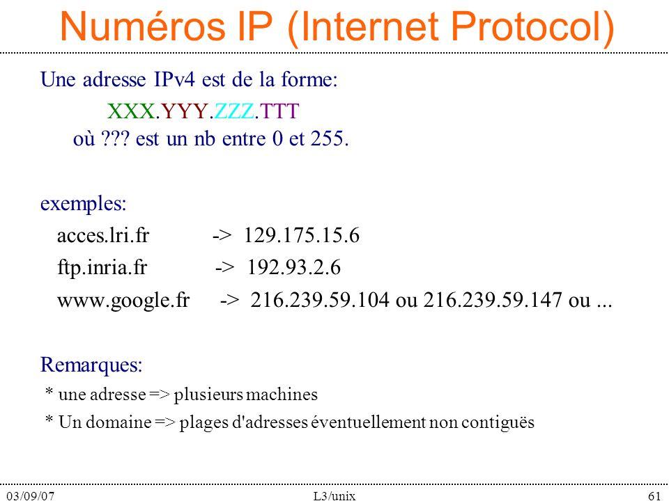 03/09/07L3/unix61 Numéros IP (Internet Protocol) Une adresse IPv4 est de la forme: XXX.YYY.ZZZ.TTT où ??? est un nb entre 0 et 255. exemples: acces.lr