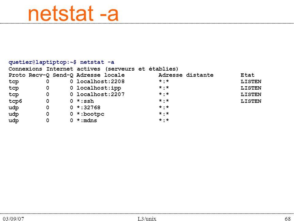 03/09/07L3/unix68 netstat -a quetier@laptiptop:~$ netstat -a Connexions Internet actives (serveurs et établies) Proto Recv-Q Send-Q Adresse locale Adr