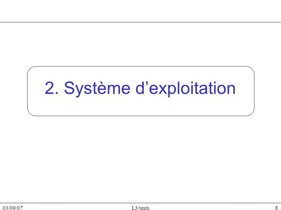 03/09/07L3/unix8 2. Système dexploitation