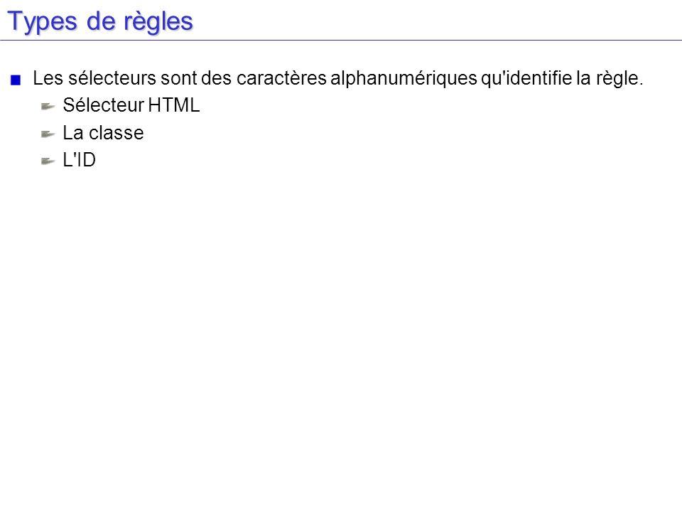 Types de règles Les sélecteurs sont des caractères alphanumériques qu'identifie la règle. Sélecteur HTML La classe L'ID