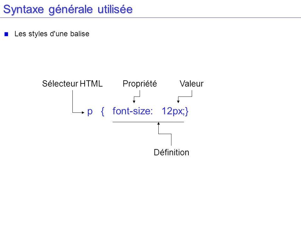 Syntaxe générale utilisée Les styles d'une balise Sélecteur HTML p {font-size:12px;} PropriétéValeur Définition