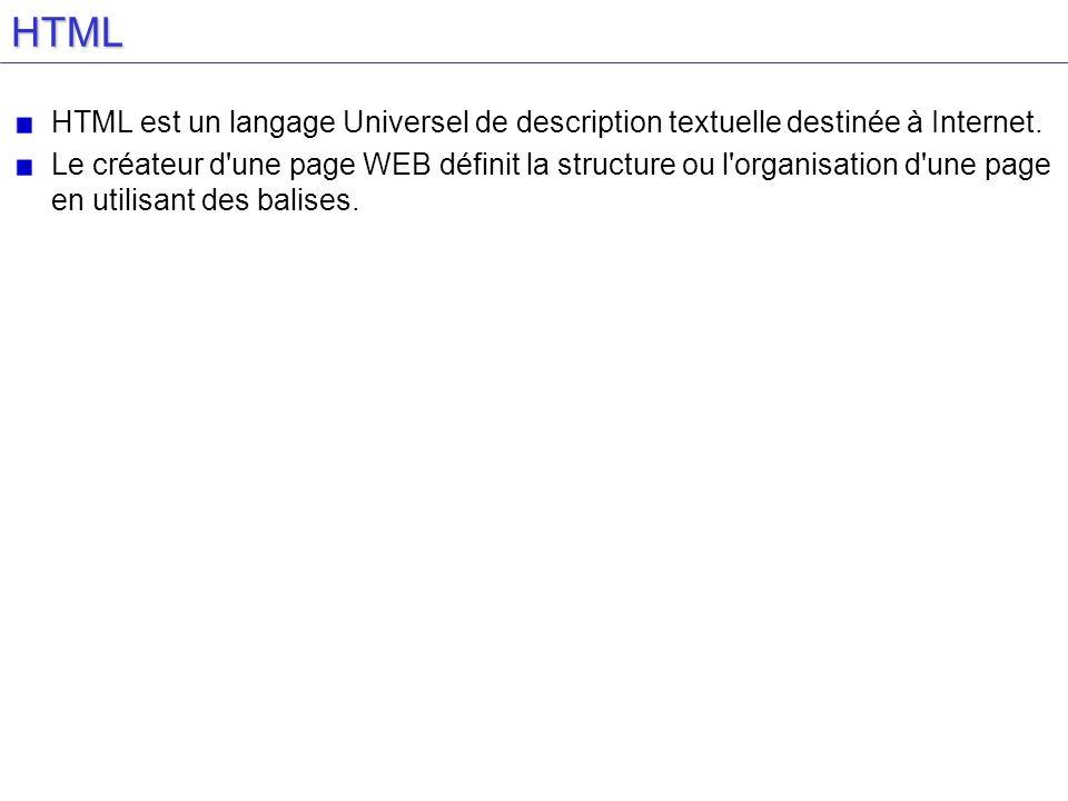 HTML HTML est un langage Universel de description textuelle destinée à Internet. Le créateur d'une page WEB définit la structure ou l'organisation d'u