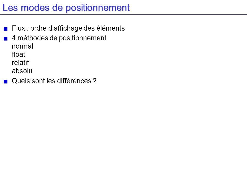 Les modes de positionnement Flux : ordre daffichage des éléments 4 méthodes de positionnement normal float relatif absolu Quels sont les différences ?