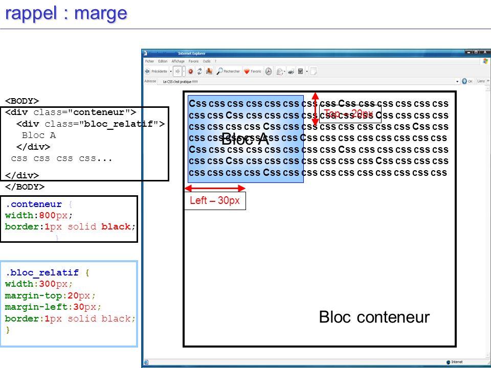 rappel : marge Bloc A css css css css....conteneur { width:800px; border:1px solid black; }.bloc_relatif { width:300px; margin-top:20px; margin-left:3