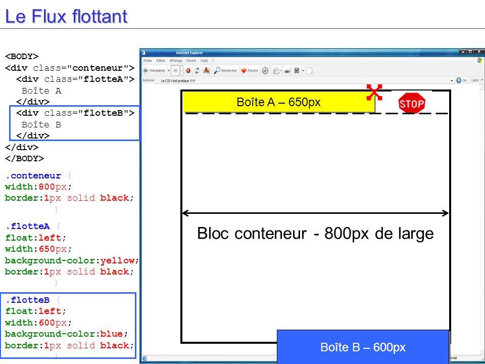 Le Flux flottant Bloc conteneur - 800px de large Boîte A Boîte B.conteneur { width:800px; border:1px solid black; }.flotteA { float:left; width:650px;