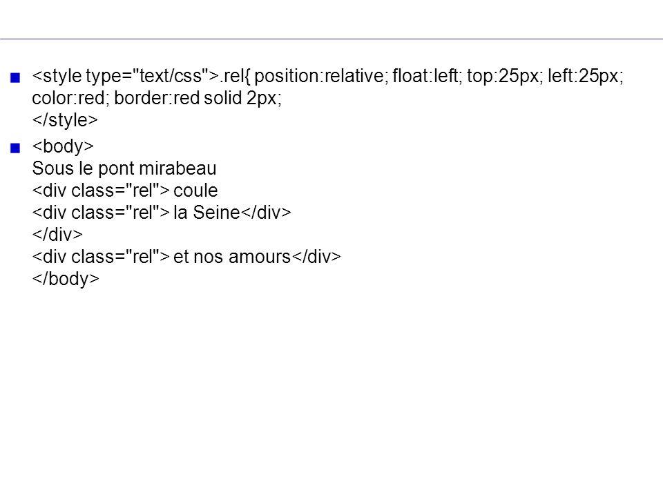 .rel{ position:relative; float:left; top:25px; left:25px; color:red; border:red solid 2px; Sous le pont mirabeau coule la Seine et nos amours