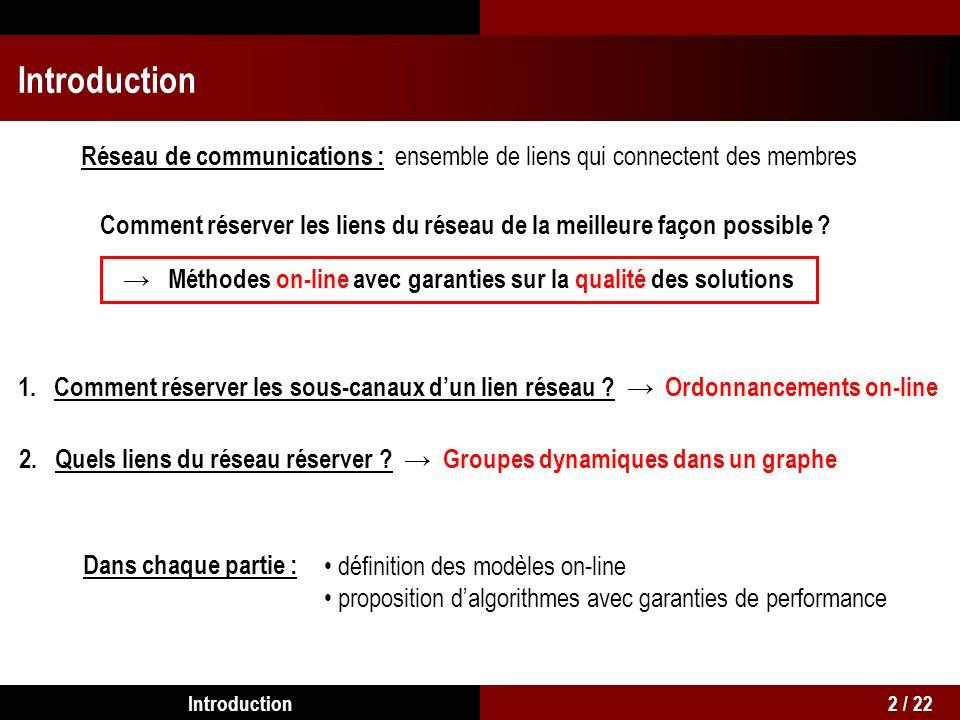 Introduction Réseau de communications : ensemble de liens qui connectent des membres Méthodes on-line avec garanties sur la qualité des solutions Comment réserver les liens du réseau de la meilleure façon possible .