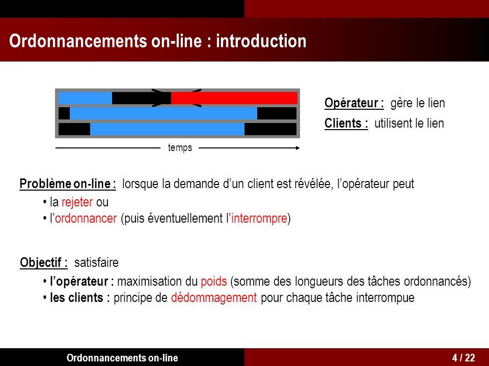 Ordonnancements on-line : introduction Opérateur : gère le lien Clients : utilisent le lien temps Problème on-line : lorsque la demande dun client est révélée, lopérateur peut la rejeter ou lordonnancer (puis éventuellement linterrompre) Objectif : satisfaire lopérateur : maximisation du poids (somme des longueurs des tâches ordonnancés) 4 / 22Ordonnancements on-line les clients : principe de dédommagement pour chaque tâche interrompue