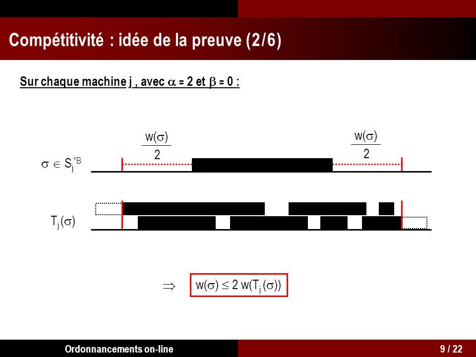 S j *B TjTj S j *B, w( ) 2 w(T j ( )) w(S *B ) 8 w(T) Compétitivité : idée de la preuve ( 3 / 6 ) Sur chaque machine j : 10 / 22Ordonnancements on-line