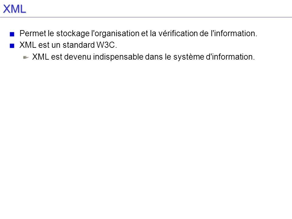 XML Permet le stockage l'organisation et la vérification de l'information. XML est un standard W3C. XML est devenu indispensable dans le système d'inf
