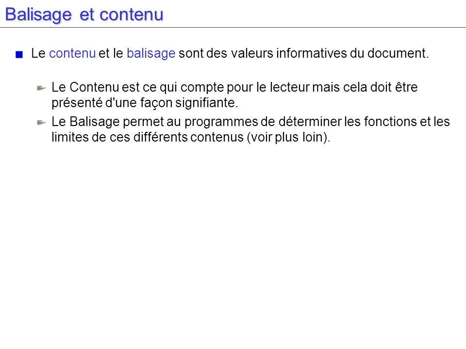 Balisage et contenu Le contenu et le balisage sont des valeurs informatives du document. Le Contenu est ce qui compte pour le lecteur mais cela doit ê