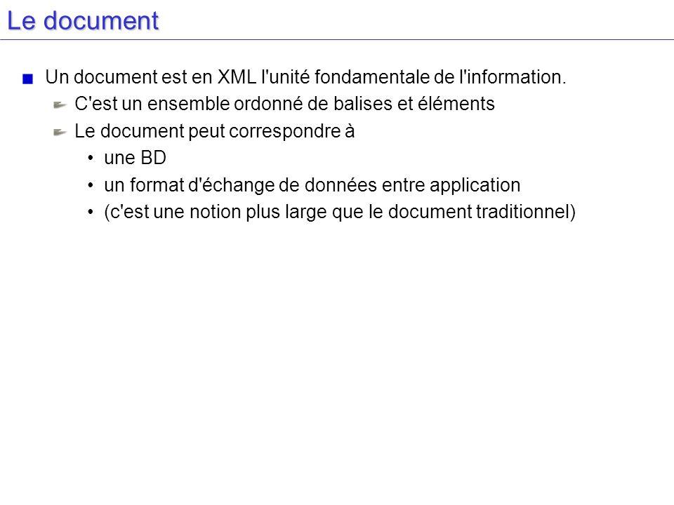 Le document Un document est en XML l'unité fondamentale de l'information. C'est un ensemble ordonné de balises et éléments Le document peut correspond