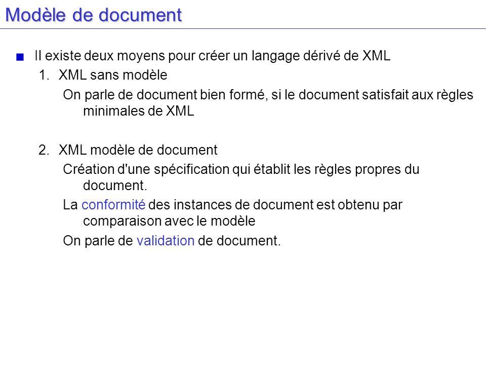 Modèle de document Il existe deux moyens pour créer un langage dérivé de XML 1.XML sans modèle On parle de document bien formé, si le document satisfa