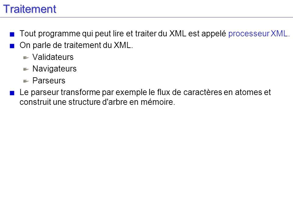 Traitement Tout programme qui peut lire et traiter du XML est appelé processeur XML. On parle de traitement du XML. Validateurs Navigateurs Parseurs L