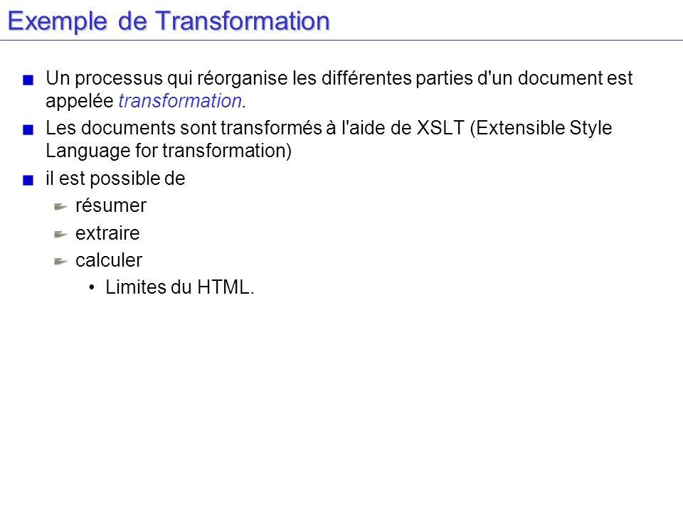 Exemple de Transformation Un processus qui réorganise les différentes parties d'un document est appelée transformation. Les documents sont transformés