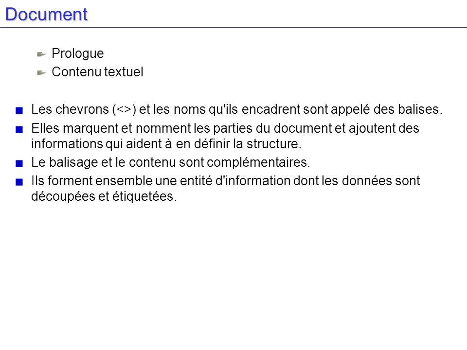Document Prologue Contenu textuel Les chevrons (<>) et les noms qu'ils encadrent sont appelé des balises. Elles marquent et nomment les parties du doc