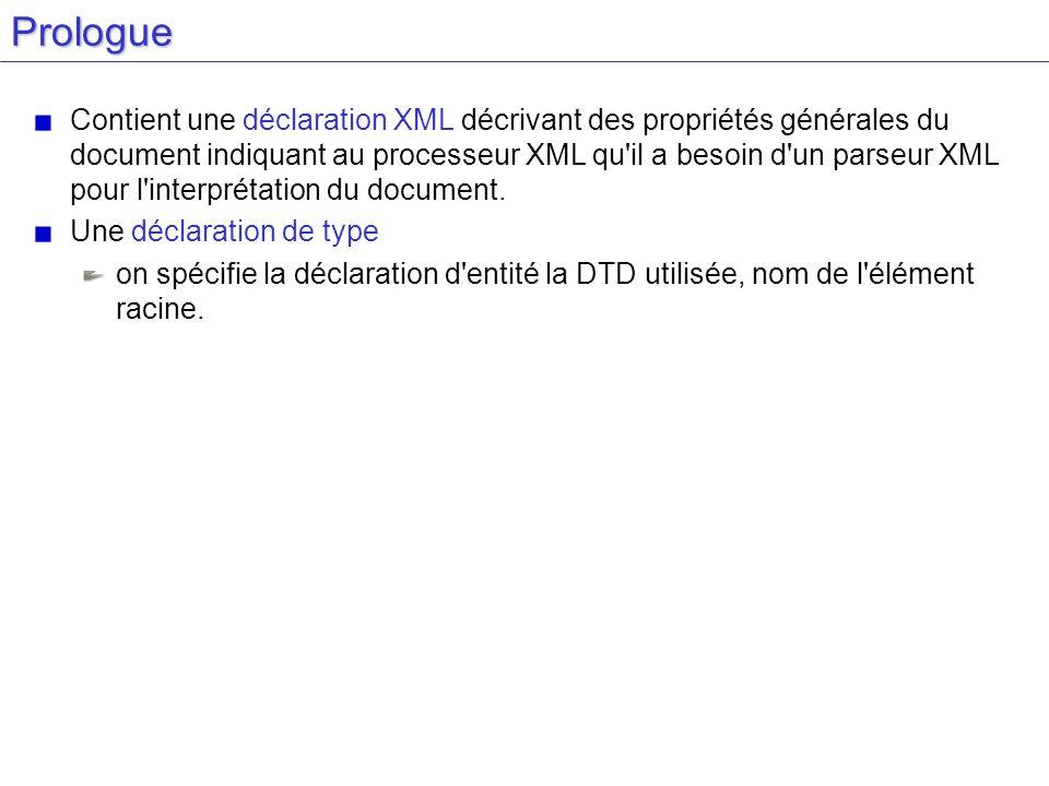 Prologue Contient une déclaration XML décrivant des propriétés générales du document indiquant au processeur XML qu'il a besoin d'un parseur XML pour