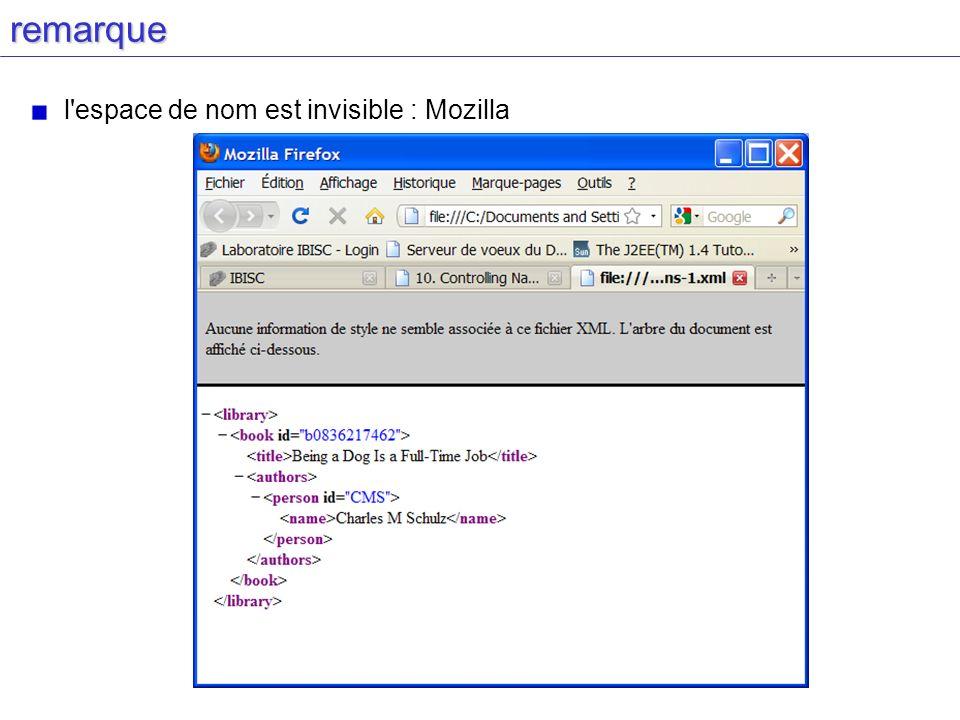 remarque l'espace de nom est invisible : Mozilla