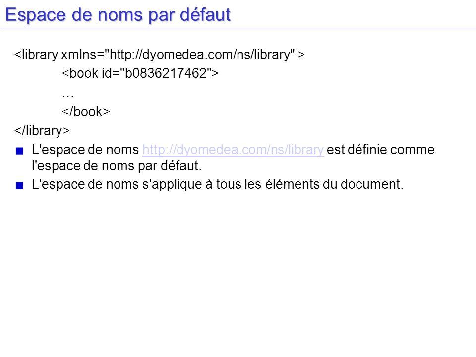 Espace de noms par défaut … L'espace de noms http://dyomedea.com/ns/library est définie comme l'espace de noms par défaut.http://dyomedea.com/ns/libra