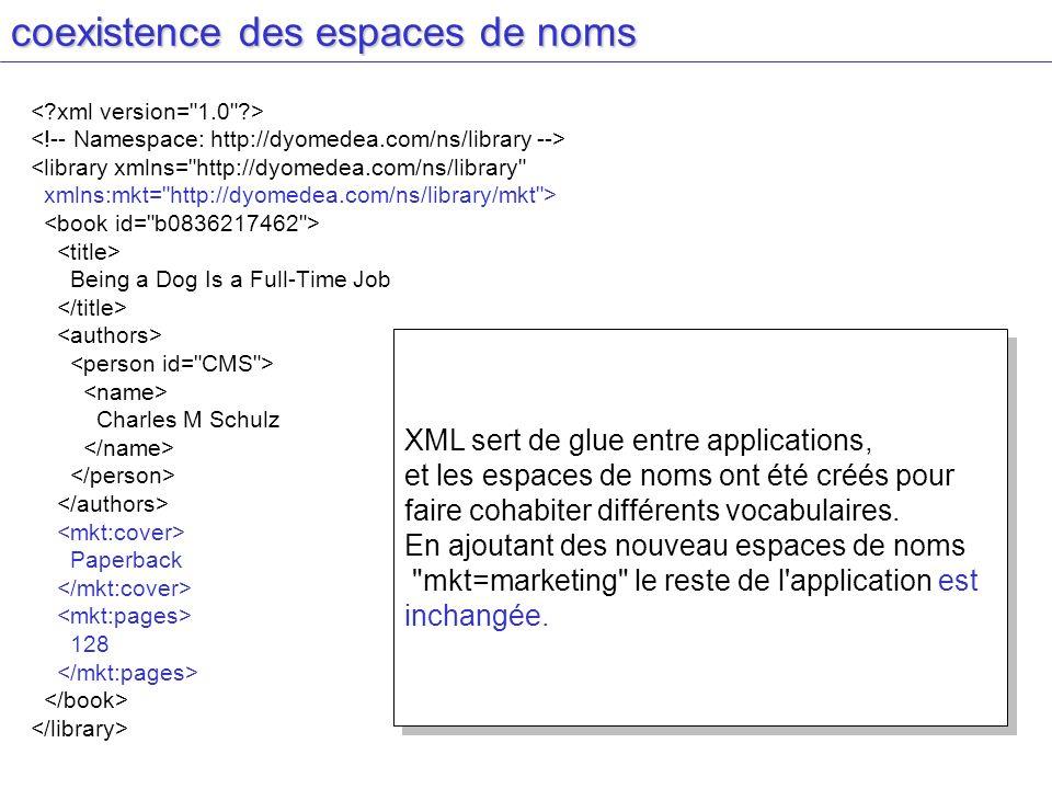 coexistence des espaces de noms <library xmlns=