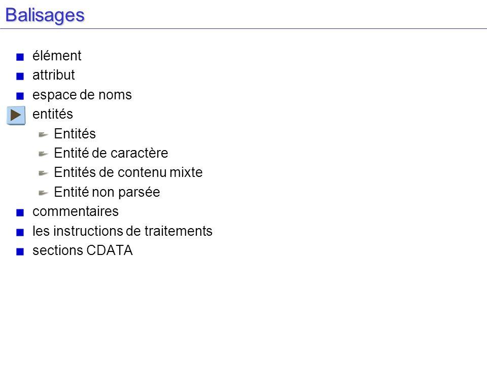 Balisages élément attribut espace de noms entités Entités Entité de caractère Entités de contenu mixte Entité non parsée commentaires les instructions