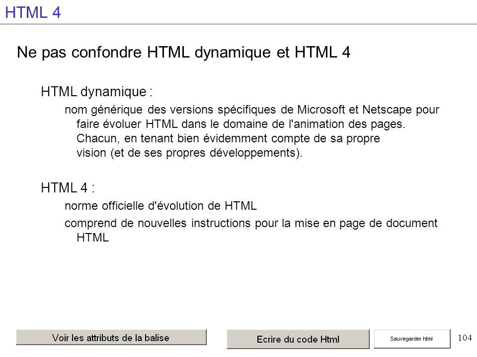 104 HTML 4 Ne pas confondre HTML dynamique et HTML 4 HTML dynamique : nom générique des versions spécifiques de Microsoft et Netscape pour faire évoluer HTML dans le domaine de l animation des pages.