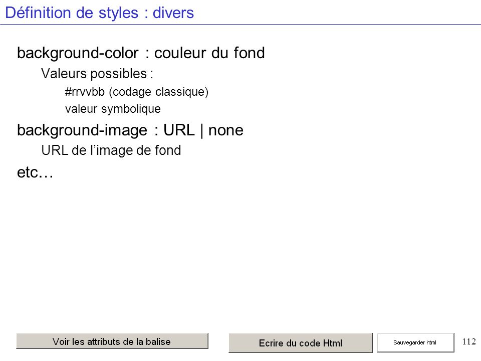 112 Définition de styles : divers background-color : couleur du fond Valeurs possibles : #rrvvbb (codage classique) valeur symbolique background-image : URL | none URL de limage de fond etc…