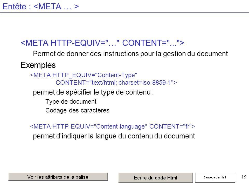 19 Entête : Permet de donner des instructions pour la gestion du document Exemples permet de spécifier le type de contenu : Type de document Codage des caractères permet dindiquer la langue du contenu du document