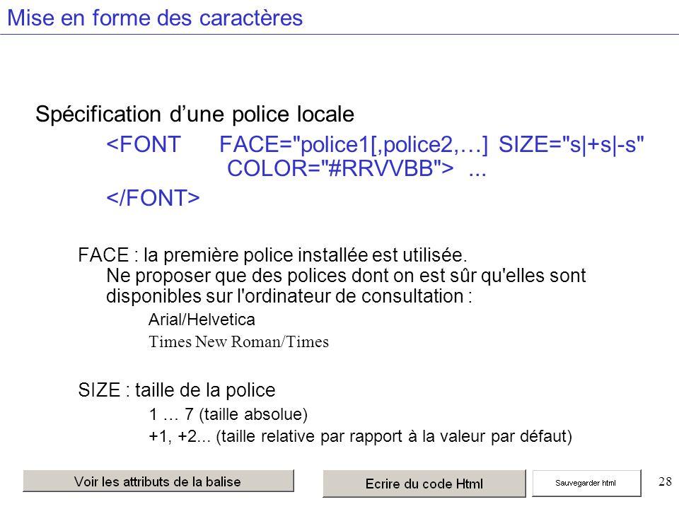 28 Mise en forme des caractères Spécification dune police locale...