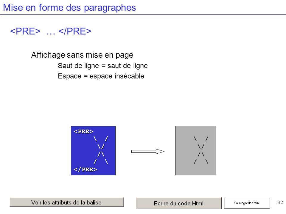 32 Mise en forme des paragraphes … Affichage sans mise en page Saut de ligne = saut de ligne Espace = espace insécable <PRE> \ / \ / /\ /\ </PRE> \ / /\