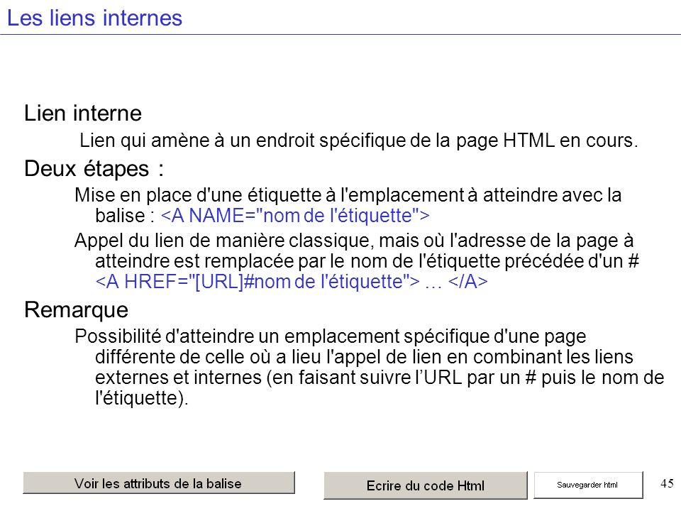 45 Les liens internes Lien interne Lien qui amène à un endroit spécifique de la page HTML en cours.