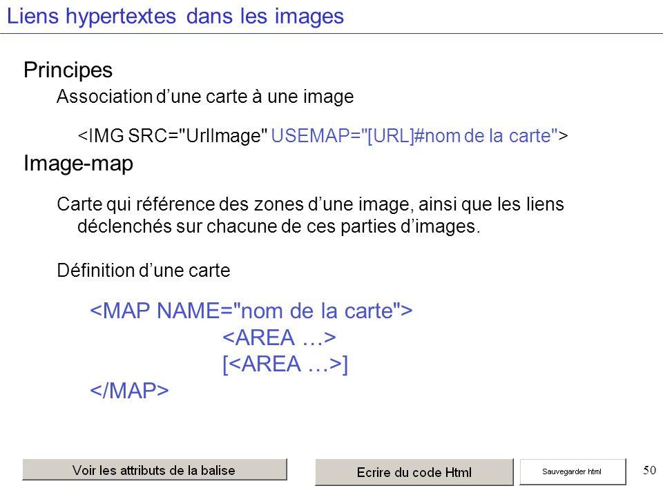 50 Liens hypertextes dans les images Principes Association dune carte à une image Image-map Carte qui référence des zones dune image, ainsi que les liens déclenchés sur chacune de ces parties dimages.