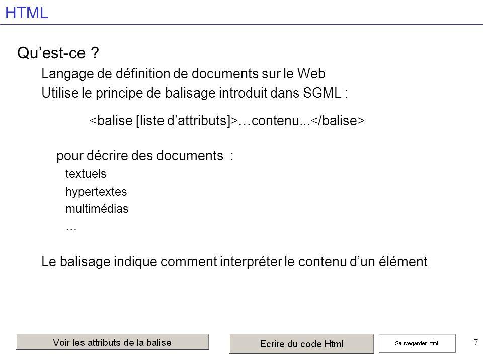 7 HTML Quest-ce ? Langage de définition de documents sur le Web Utilise le principe de balisage introduit dans SGML : …contenu... pour décrire des doc