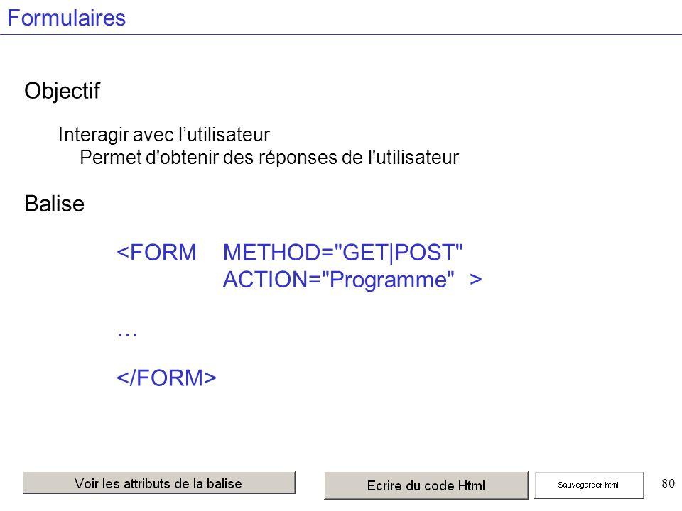80 Formulaires Objectif Interagir avec lutilisateur Permet d obtenir des réponses de l utilisateur Balise …