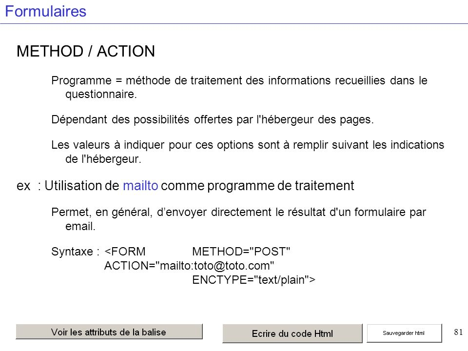 81 Formulaires METHOD / ACTION Programme = méthode de traitement des informations recueillies dans le questionnaire.