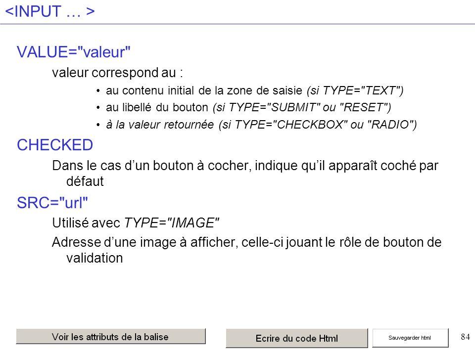 84 VALUE= valeur valeur correspond au : au contenu initial de la zone de saisie (si TYPE= TEXT ) au libellé du bouton (si TYPE= SUBMIT ou RESET ) à la valeur retournée (si TYPE= CHECKBOX ou RADIO ) CHECKED Dans le cas dun bouton à cocher, indique quil apparaît coché par défaut SRC= url Utilisé avec TYPE= IMAGE Adresse dune image à afficher, celle-ci jouant le rôle de bouton de validation