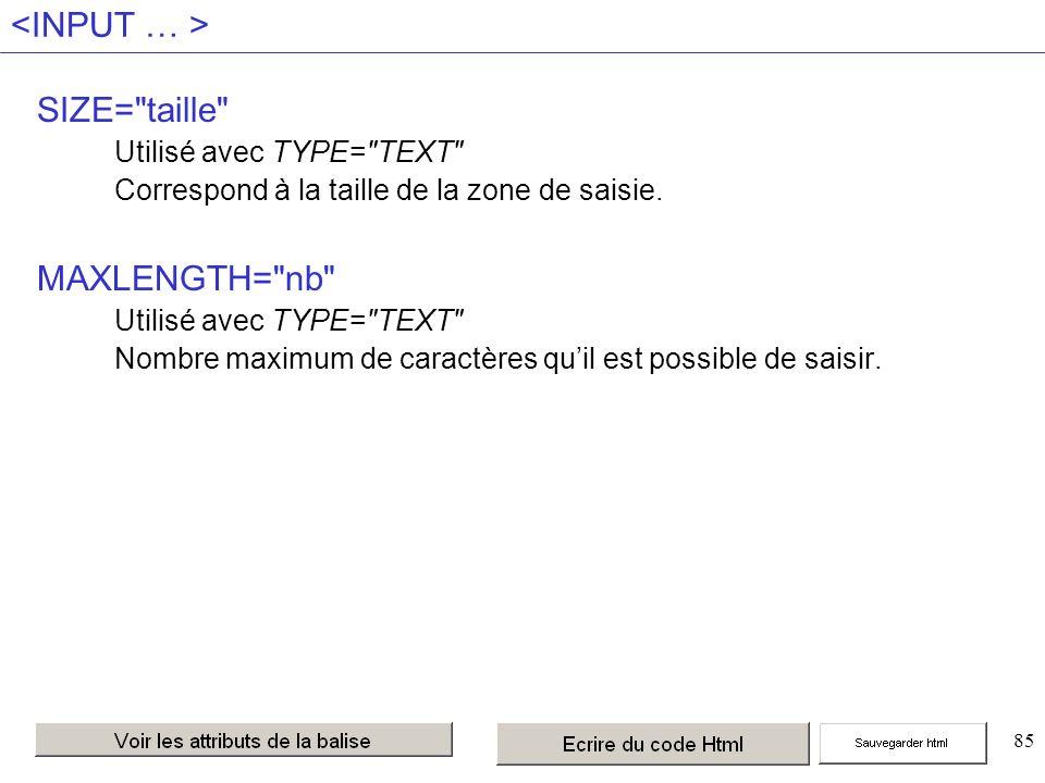 85 SIZE= taille Utilisé avec TYPE= TEXT Correspond à la taille de la zone de saisie.