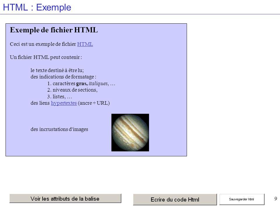 9 HTML : Exemple Exemple de fichier HTML Ceci est un exemple de fichier HTML Un fichier HTML peut contenir : le texte destiné à être lu; des indications de formatage : 1.