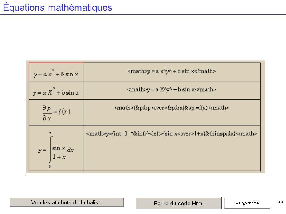 99 Équations mathématiques