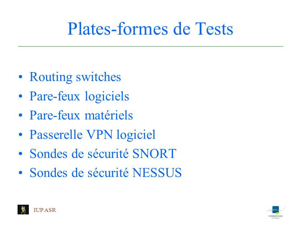 IUP ASR Plates-formes de Tests Routing switches Pare-feux logiciels Pare-feux matériels Passerelle VPN logiciel Sondes de sécurité SNORT Sondes de séc