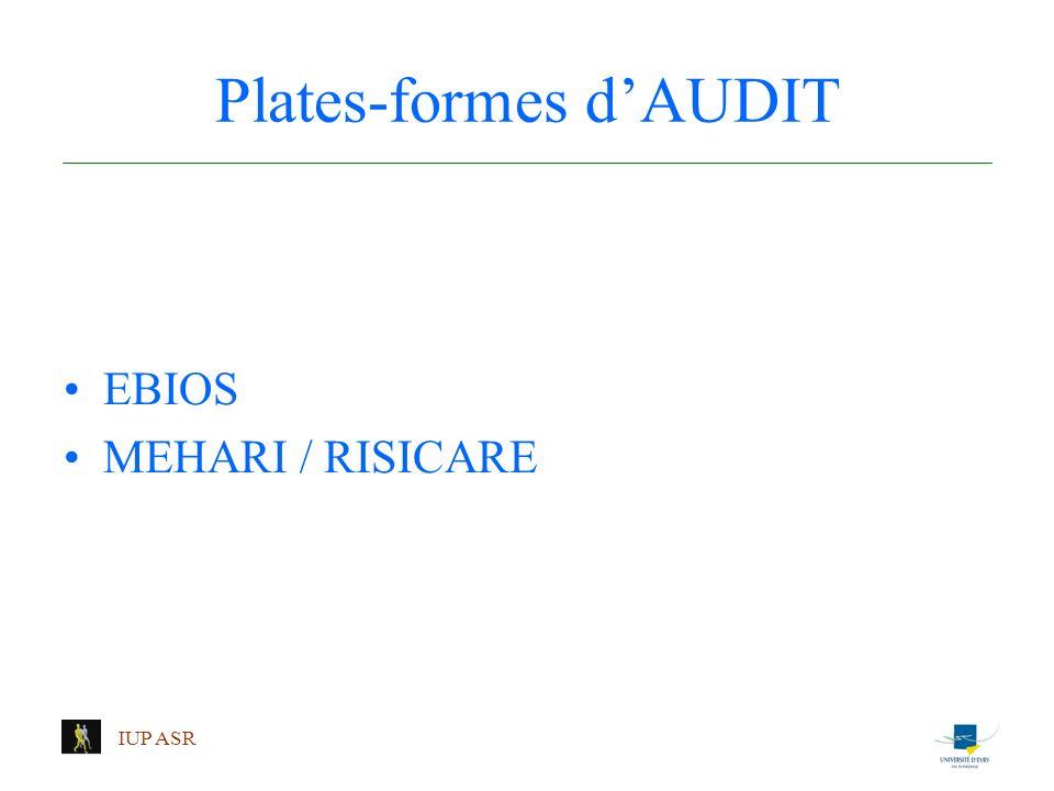 IUP ASR Plates-formes dAUDIT EBIOS MEHARI / RISICARE