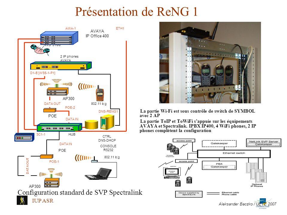 Présentation de ReNG 1 La partie Wi-Fi est sous contrôle de switch de SYMBOL avec 2 AP La partie ToIP et ToWiFi sappuie sur les équipements AVAYA et S