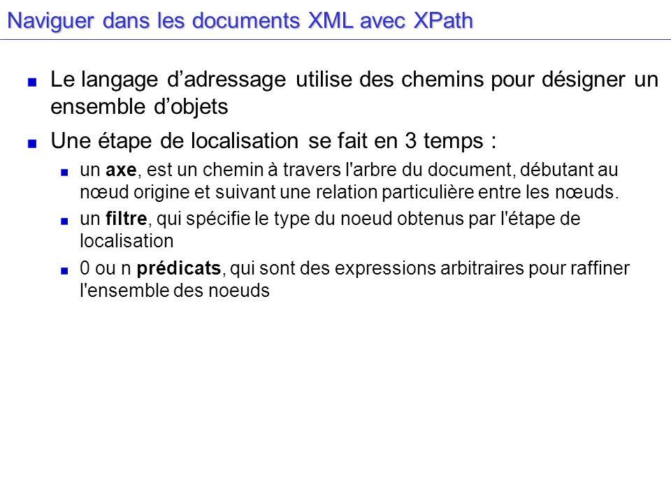 Naviguer dans les documents XML avec XPath Le langage dadressage utilise des chemins pour désigner un ensemble dobjets Une étape de localisation se fait en 3 temps : un axe, est un chemin à travers l arbre du document, débutant au nœud origine et suivant une relation particulière entre les nœuds.