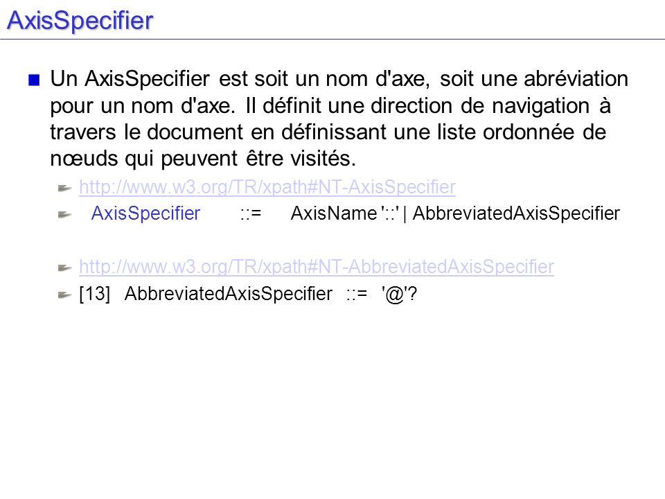 AxisSpecifier Un AxisSpecifier est soit un nom d axe, soit une abréviation pour un nom d axe.