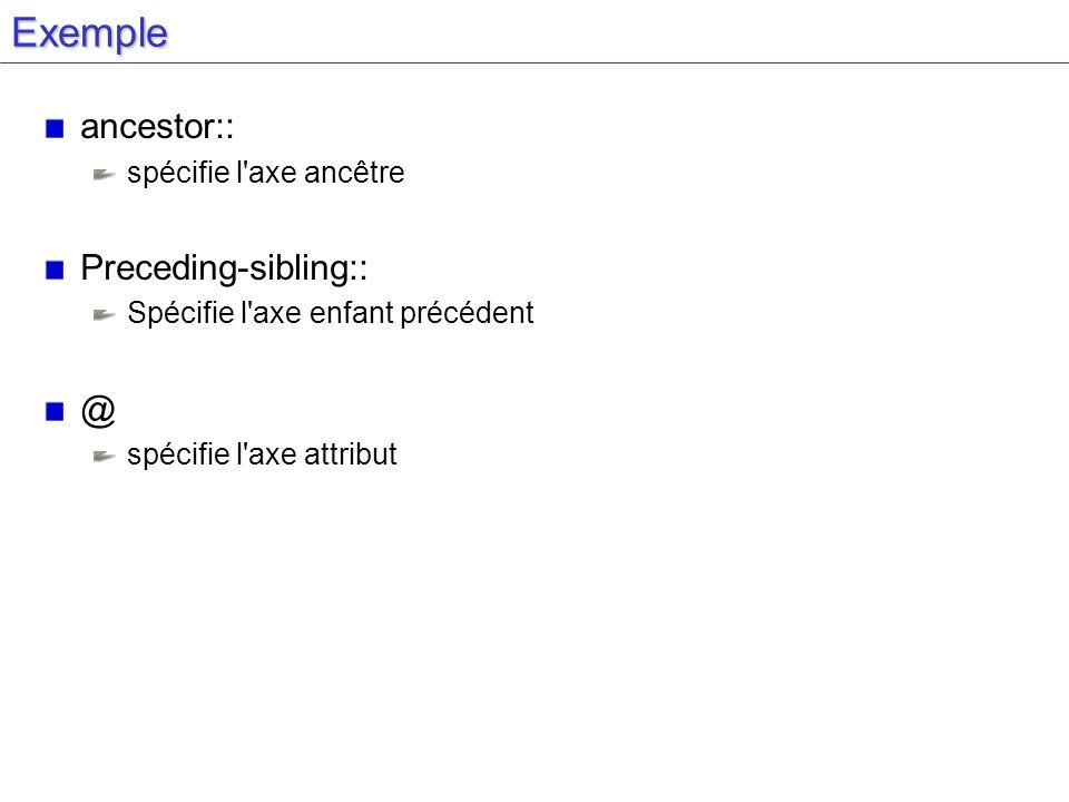 Exemple ancestor:: spécifie l axe ancêtre Preceding-sibling:: Spécifie l axe enfant précédent @ spécifie l axe attribut