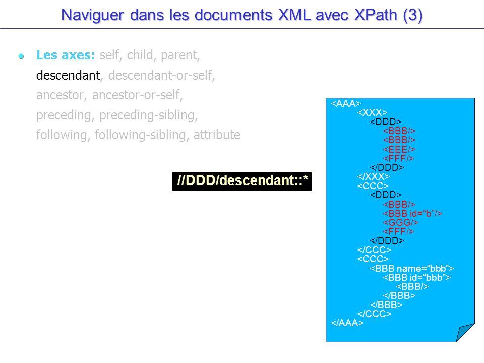 Naviguer dans les documents XML avec XPath (3) Les axes: self, child, parent, descendant, descendant-or-self, ancestor, ancestor-or-self, preceding, preceding-sibling, following, following-sibling, attribute //DDD/descendant::*