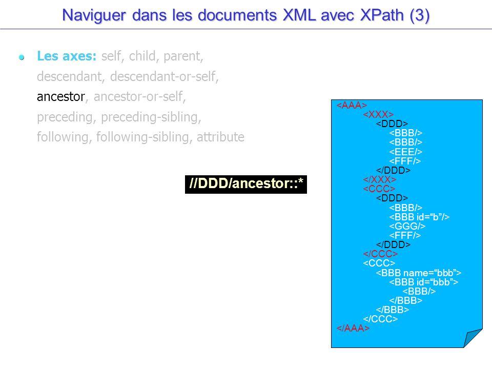 Naviguer dans les documents XML avec XPath (3) Les axes: self, child, parent, descendant, descendant-or-self, ancestor, ancestor-or-self, preceding, preceding-sibling, following, following-sibling, attribute //DDD/ancestor::*